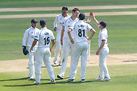 Boyd Rankin of Warwickshire is congratulated by his team mates after taking the wicket of Varun Chopra during Essex CCC vs Warwickshire CCC, Specsavers County Championship Division 1 Cricket at The Cloudfm County Ground on 19th June 2017