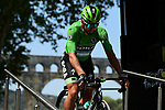 Green Jersey Peter Sagan (SVK) Bora-Hansgrohe at sign on before the start of Stage 17 of the 2019 Tour de France running 200km from Pont du Gard to Gap, France. 24th July 2019.<br /> Picture: ASO/Alex Broadway | Cyclefile<br /> All photos usage must carry mandatory copyright credit (© Cyclefile | ASO/Alex Broadway)