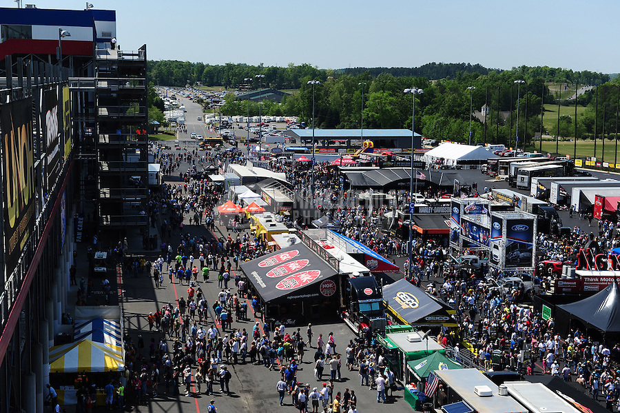 Apr. 14, 2012; Concord, NC, USA: NHRA pro pits empty out after the end of qualifying for the Four Wide Nationals at zMax Dragway. Mandatory Credit: Mark J. Rebilas-