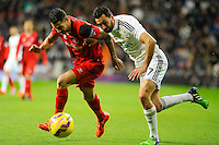 Real Madrid´s Alvaro Arbeloa and Sevilla's Vitolo during 2014-15 La Liga match between Real Madrid and Sevilla at Santiago Bernabeu stadium in Alcorcon, Madrid, Spain. February 04, 2015. (ALTERPHOTOS/Luis Fernandez) /NORTEphoto.com