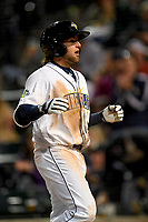 Second baseman Blake Tiberi (3) of the Columbia Fireflies heads for the dugout after hitting a home run in a game against the Augusta GreenJackets on Opening Day, Thursday, April 5, 2018, at Spirit Communications Park in Columbia, South Carolina. Columbia won, 4-2. (Tom Priddy/Four Seam Images