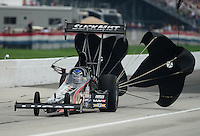 Sept. 1, 2012; Claremont, IN, USA: NHRA top fuel dragster driver Bruce Litton during qualifying for the US Nationals at Lucas Oil Raceway. Mandatory Credit: Mark J. Rebilas-