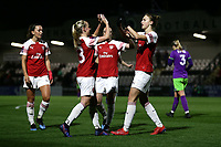 Vivianne Miedema of Arsenal scores the fourth goal for her team and celebrates during Arsenal Women vs Bristol City Women, FA Women's Super League Football at Meadow Park on 14th March 2019