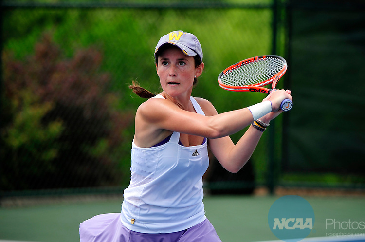 23 MAY 2012:  Carolina Capute of Williams College returns a shot against the University of Chicago during the Division III Women?s Tennis Championship held at Cary Tennis Park in Cary, NC.  Williams College defeated the University of Chicago 5-3  for the national title.  Grant Halverson/NCAA Photos
