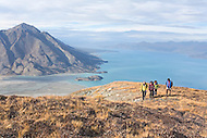 Hiking above Kluane Lake in Kluane National Park, Yukon
