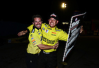 Sept. 1, 2012; Claremont, IN, USA: NHRA top fuel dragster driver Spencer Massey celebrates after winning the Traxxas shootout during qualifying for the US Nationals at Lucas Oil Raceway. Mandatory Credit: Mark J. Rebilas-