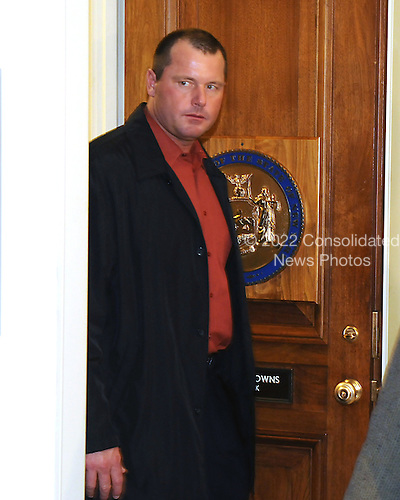 Washington, DC - February 8, 2008 -- Former New York Yankee pitcher Roger Clemens meets United States Representative Edolphus Towns (Democrat of New York) as he makes the rounds to meet members of the United States House Government Operations and Reform Committee concerning his alleged use of human growth hormone (HGH) in Washington, D.C. on Friday, February 8, 2008.  He is scheduled to testify before the committee on Wednesday, February 13, 2008..Credit: Ron Sachs / CNP