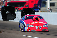 Feb. 18, 2012; Chandler, AZ, USA; NHRA pro stock driver Shane Gray during qualifying for the Arizona Nationals at Firebird International Raceway. Mandatory Credit: Mark J. Rebilas-
