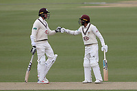 Ryan Patel (R) and Morne Morkel of Surrey during Surrey CCC vs Essex CCC, Specsavers County Championship Division 1 Cricket at the Kia Oval on 12th April 2019