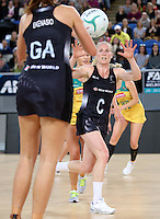 04.09.2016 Silver Ferns Laura Langman in action during the Netball Quad Series match between the Silver Ferns and Australia played at Margaret Court Arena in Melbourne. Mandatory Photo Credit ©Michael Bradley.