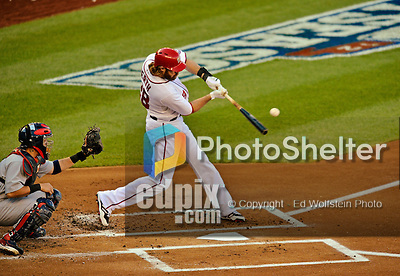 11 October 2012: Washington Nationals outfielder Jayson Werth in action during Postseason Playoff Game 4 of the National League Divisional Series against the St. Louis Cardinals at Nationals Park in Washington, DC. The Nationals defeated the Cardinals 2-1 on a 9th inning, walk-off solo home run by Jayson Werth, tying the Series at 2 games apiece. Mandatory Credit: Ed Wolfstein Photo