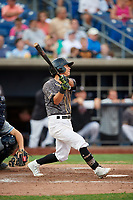 Quad Cities River Bandits second baseman Alfredo Angarita (2) follows through on a swing during a game against the West Michigan Whitecaps on July 22, 2018 at Modern Woodmen Park in Davenport, Iowa.  West Michigan defeated Quad Cities 6-4.  (Mike Janes/Four Seam Images)