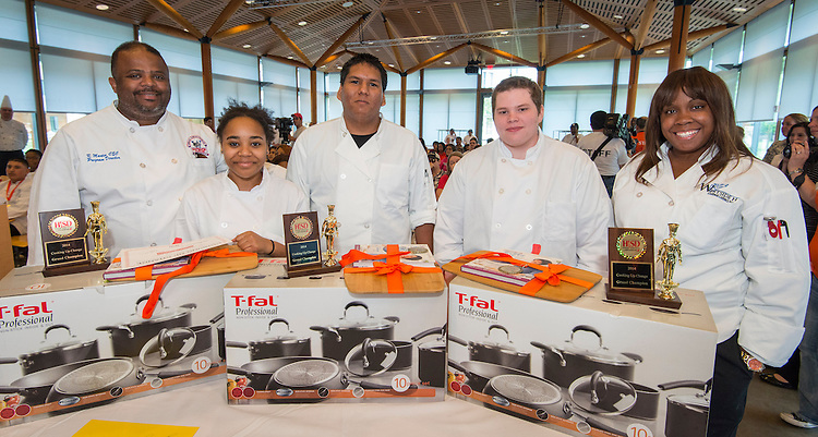 Students from Westside High School pose for a photograph after winning the Cooking for Change challenge at Rice University, April 12, 2014.