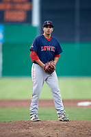 Lowell Spinners relief pitcher Rio Gomez (47) gets ready to deliver a pitch during a game against the Batavia Muckdogs on July 16, 2018 at Dwyer Stadium in Batavia, New York.  Lowell defeated Batavia 4-3.  (Mike Janes/Four Seam Images)