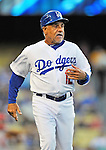 22 July 2011: Los Angeles Dodgers first base coach Davey Lopes takes his position during a game against the Washington Nationals at Dodger Stadium in Los Angeles, California. The Nationals defeated the Dodgers 7-2 in their first meeting of the 2011 season. Mandatory Credit: Ed Wolfstein Photo