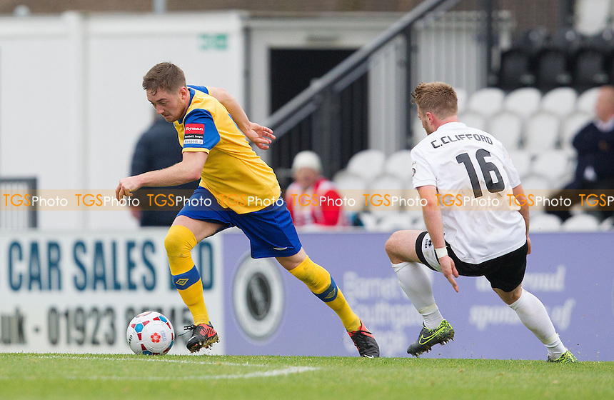 Joey May of AFC Hornchurch works inside of Conor Clifford of Boreham Wood during Boreham Wood vs AFC Hornchurch, Emirates FA Cup Football at Meadow Park, Borehamwood, England on 24/10/2015