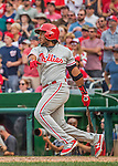 11 September 2016: Philadelphia Phillies infielder Maikel Franco pinch hits against the Washington Nationals at Nationals Park in Washington, DC. The Nationals edged out the Phillies 3-2 to take the rubber match of their 3-game series. Mandatory Credit: Ed Wolfstein Photo *** RAW (NEF) Image File Available ***