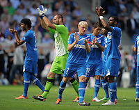 FUSSBALL   1. BUNDESLIGA  SAISON 2011/2012   2. Spieltag   13.08.2011 TSG 1899 Hoffenheim - Borussia Dortmund  TEAMJUBEL TSG 1899 Hoffenheim: Ryan Babel,  Andreas Beck und  Torwart Starke (v.li.)