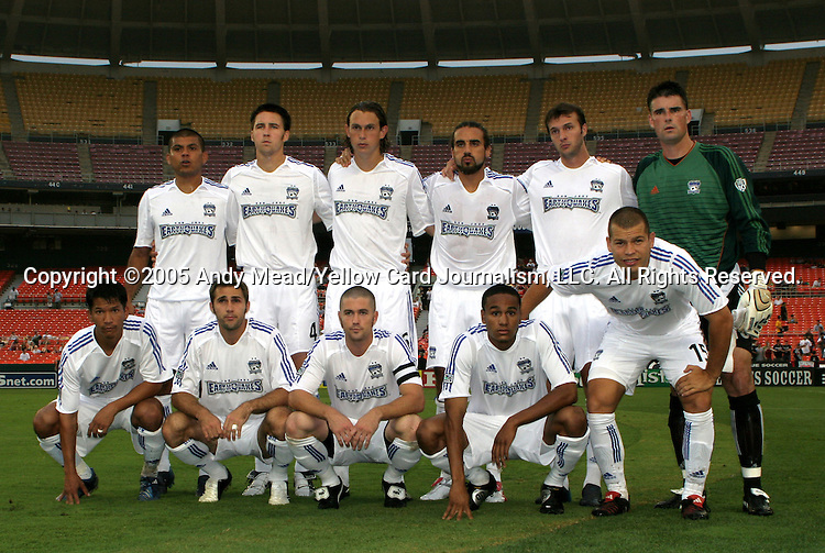 15 July 2005: San Jose's starters pose for a team photo. DC United defeated the San Jose Earthquakes 3-0 at RFK Stadium in Washington, DC in a regular season Major League Soccer game.
