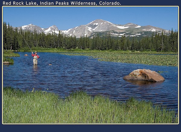 Angler flyfishing in Red Rock Lake, Indian Peaks Wilderness, Colorado.<br />