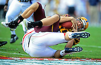 Nov. 28, 2009; Tempe, AZ, USA; Arizona State Sun Devils quarterback (10) Samson Szakacsy is sacked in the second quarter against the Arizona Wildcats at Sun Devil Stadium. Mandatory Credit: Mark J. Rebilas-