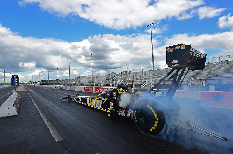Jan. 16, 2013; Jupiter, FL, USA: NHRA top fuel dragster driver Tony Schumacher during testing at the PRO Winter Warmup at Palm Beach International Raceway.  Mandatory Credit: Mark J. Rebilas-