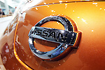 July 27, 2016, Yokohama, Japan - An emblem of Japanese automobile giant Nissan Motor is displayed on the company's electric vehicle Leaf at the company's showroom in Yokohama, suburban Tokyo on Wednesday, July 27, 2016. Nissan announced the company's operating profit for the first quarter fell 9.2 percent to 175.8 billion yen since string yen and trouble of the MMC's mini car Days and Days Roox.    (Photo by Yoshio Tsunoda/AFLO) LWX -ytd-