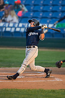 Tristen Lutz (23) of the Helena Brewers follows through on his swing against the Great Falls Voyagers at Centene Stadium on August 18, 2017 in Helena, Montana.  The Voyagers defeated the Brewers 10-7.  (Brian Westerholt/Four Seam Images)
