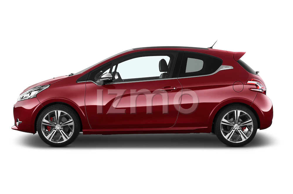 Car Driver side profile view of a 2014 Peugeot 208 GTI 3 Door Hatchback 2WD Side View