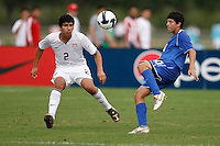 Andres Acevedo (10) of the Academy Select Team (10) is defended by Cristian Flores (2) of the USA. The US U-17 Men's National Team defeated the Development Academy Select Team 3-1 during day one of the US Soccer Development Academy  Spring Showcase in Sarasota, FL, on May 22, 2009.