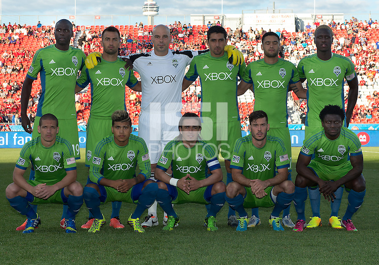August 10, 2013: Seattle Sounders FC starting eleven  during an MLS regular season game between the Seattle Sounders and Toronto FC at BMO Field in Toronto, Ontario Canada.<br /> Seattle Sounders FC won 2-1.