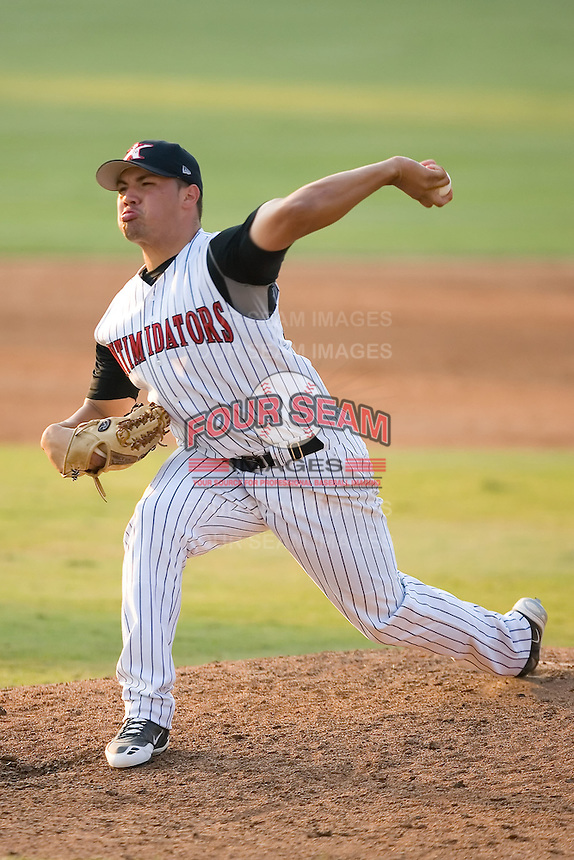 Hector Santiago (23) of the Kannapolis Intimidators in action at Fieldcrest Cannon Stadium in Kannapolis, NC, Sunday August 10, 2008. (Photo by Brian Westerholt / Four Seam Images)
