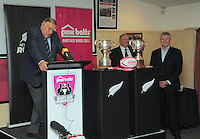 Sir Colin Meads speaks as Sir Brian Lochore and NZRU chief executive Steve Tew (right) look on during the Pink Batts Heartland Championship 2013 season launch at Waikanae RFC, Waikanae, New Zealand on Tuesday, 13 August 2013. Photo: Dave Lintott / lintottphoto.co.nz