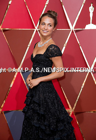 26.02.2017; Hollywood, USA: ALICIA VIKANDER<br /> attends The 89th Annual Academy Awards at the Dolby&reg; Theatre in Hollywood.<br /> Mandatory Photo Credit: &copy;AMPAS/NEWSPIX INTERNATIONAL<br /> <br /> IMMEDIATE CONFIRMATION OF USAGE REQUIRED:<br /> Newspix International, 31 Chinnery Hill, Bishop's Stortford, ENGLAND CM23 3PS<br /> Tel:+441279 324672  ; Fax: +441279656877<br /> Mobile:  07775681153<br /> e-mail: info@newspixinternational.co.uk<br /> Usage Implies Acceptance of Our Terms &amp; Conditions<br /> Please refer to usage terms. All Fees Payable To Newspix International