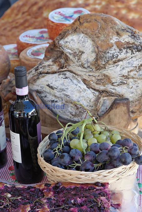 Grapes, bread, wine, cheese exhibit, La Festa dell'Uva, Impruneta, Italy, Tuscany.