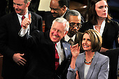 United States House Majority Leader Steny Hoyer (Democrat of Maryland), left, and U.S. Speaker of the U.S. House Nancy Pelosi (Democrat of California), right, acknowledge some guests in the gallery prior to the arrival of U.S. President Barack Obama to deliver his first State of the Union Address in the Chamber of the U.S. House of Representatives in the U.S. Capitol in Washington, D.C. on Wednesday, January 27, 2010..Credit: Ron Sachs / CNP.(RESTRICTION: NO New York or New Jersey Newspapers or newspapers within a 75 mile radius of New York City)