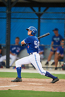 GCL Blue Jays second baseman Addison Barger (58) follows through on a swing during a game against the GCL Phillies West on August 7, 2018 at Bobby Mattick Complex in Dunedin, Florida.  GCL Blue Jays defeated GCL Phillies West 11-5.  (Mike Janes/Four Seam Images)