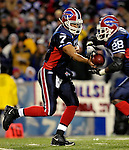 18 November 2007: Buffalo Bills quarterback J.P. Losman hands of the ball to running back Anthony Thomas during action against the New England Patriots at Ralph Wilson Stadium in Orchard Park, NY. The Patriots defeated the Bills 56-10 in their second meeting of the season...Mandatory Photo Credit: Ed Wolfstein Photo