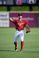 Altoona Curve second baseman Stephen Alemais (2) warms up before a game against the Richmond Flying Squirrels on May 15, 2018 at Peoples Natural Gas Field in Altoona, Pennsylvania.  Altoona defeated Richmond 5-1.  (Mike Janes/Four Seam Images)