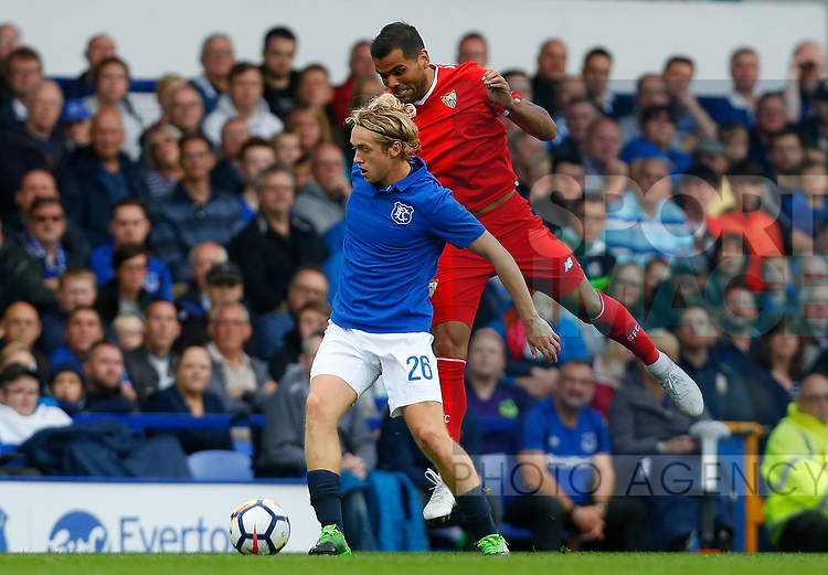 Everton's Tom Davies (L) in action with Sevilla's Gabriel Mercado during the pre season friendly match at Goodison Park Stadium, Liverpool. Picture date 6th August 2017. Picture credit should read: Paul Thomas/Sportimage