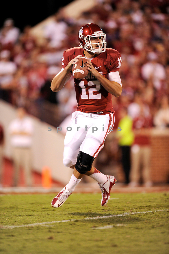 Oklahoma Sooners Landry Jones (12) in action during a game against Kansas State on September 22, 2012 at Gaylord Family Oklahoma Memorial Stadium in Norman, OK. Kansas State beat Oklahoma 24-19.
