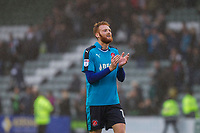 Cian Bolger of Fleetwood Town claps the fans at full time of the Sky Bet League 1 match between Plymouth Argyle and Fleetwood Town at Home Park, Plymouth, England on 7 October 2017. Photo by Mark  Hawkins / PRiME Media Images.