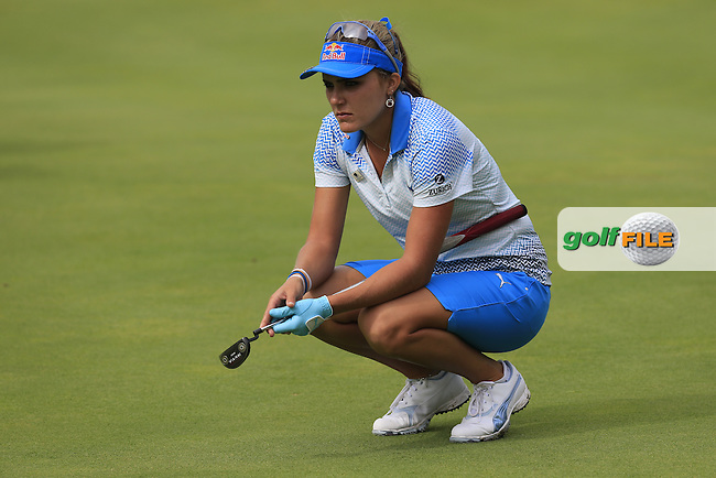 Lexi Thompson (USA) lines up her putt on the 5th green during Sunday's Final Round of the LPGA 2015 Evian Championship, held at the Evian Resort Golf Club, Evian les Bains, France. 13th September 2015.<br /> Picture Eoin Clarke | Golffile