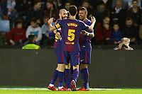 FC Barcelona's Aleix Vidal, Jose Arnaiz, Sergio Busquets and Paulinho celebrate goal during Spanish Kings Cup match. January 4,2018. (ALTERPHOTOS/Acero)