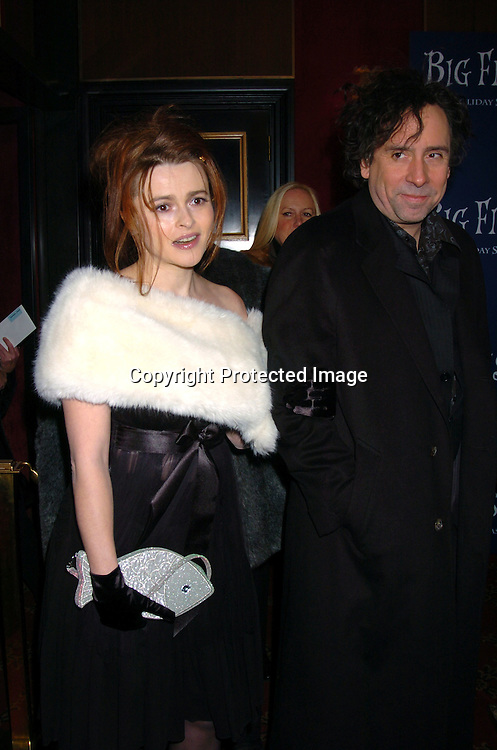 """Helena Bonham Carter and Tim Burton ..at the World Premiere of """"Big Fish"""" on December 4, 2003 at the Ziegfeld Theatre in New York City.                               Photo by Robin Platzer, Twin Images"""