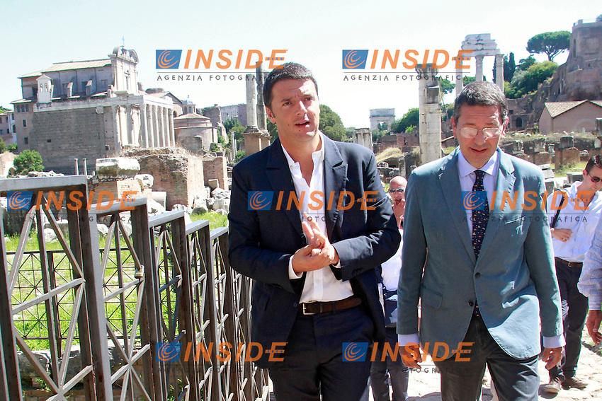 Matteo Renzi e Ignazio Marino visitano i Fori Imperiali<br /> Roma 04/09/2013 Campidoglio. Incontro tra il sindaco di Roma ed il sindaco di Firenze che si recano a visitare i Fori Imperiali.<br /> Rome's Mayor and Florence Mayor visit the Fori Imperiali<br /> Photo Samantha Zucchi Insidefoto