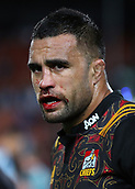 June 3rd 2017, FMG Stadium, Waikato, Hamilton, New Zealand; Super Rugby; Chiefs versus Waratahs;  Chiefs No. 8 Liam Messam with a bloody mouth during the Super Rugby rugby match