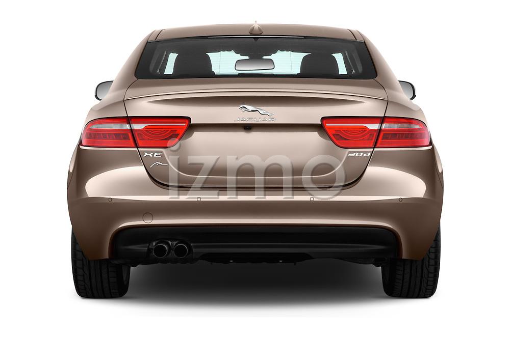 Straight rear view of 2015 Jaguar XE R-Sport 4 Door Sedan Rear View  stock images