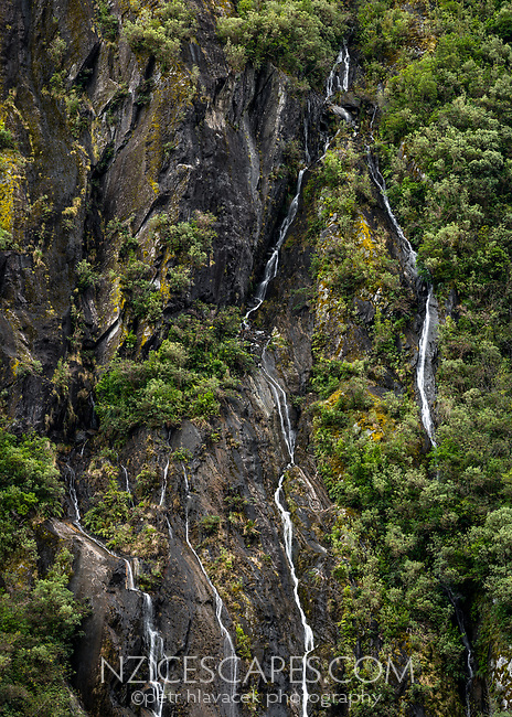 Random waterfalls in Franz Josef Glacier valley, Westland Tai Poutini National Park, South Westland, West Coast, UNESCO World Heritage Area, New Zealand, NZ