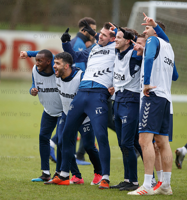 05.02.2019: Rangers training: Glen Kamara, Daniel Candeias, Kyle Lafferty, Andy Halliday, Steven Davis and Gareth McAuley